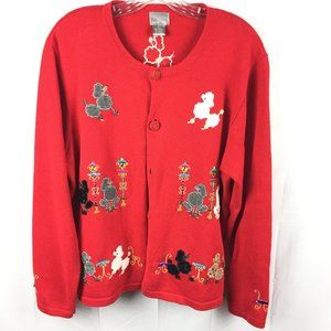 Berek Beaded Poodle Party Women's XL Red Cardigan